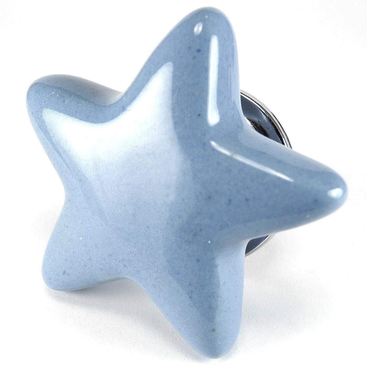 Periwinkle Blue Ceramic Star Cabinet Knobs, Drawer Pulls & Handles Set/6pc C88 Ceramic Star Shape Knobs for Cabinets, Children's Dresser, Kitchen Cabinets and Cupboards with Chrome Hardware