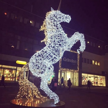Outdoor Ip65 Led Christmas Light Sculpture Metal Wire Frame Unicorn Animals Sculptures For Holiday Displays