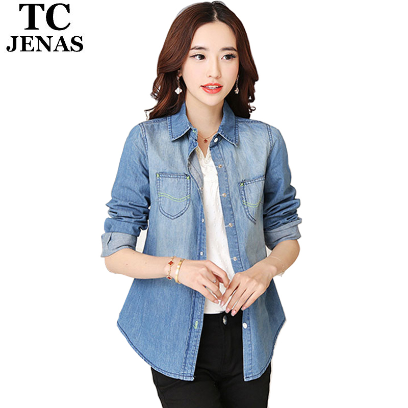 d469aee2c17 Get Quotations · TC Woman Slim Vintage Denim Shirts Womens Long Sleeve Blue Pockets  Casual Blouses Tops Clothing Blusas