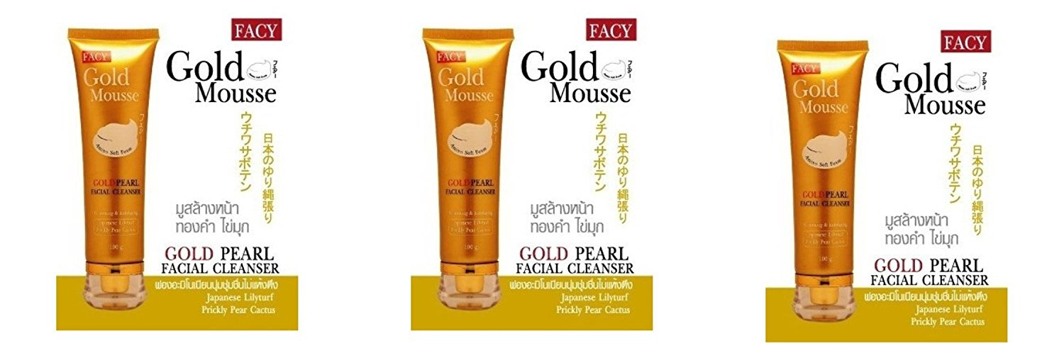 Beauty Set : 3 Units of Facy : Gold Mousse Gold Pearl Facial Cleanser Whitening & Exfoliating 80g Best Seller of Thailand [Free Facial Hair Epicare Spring A1Remover]