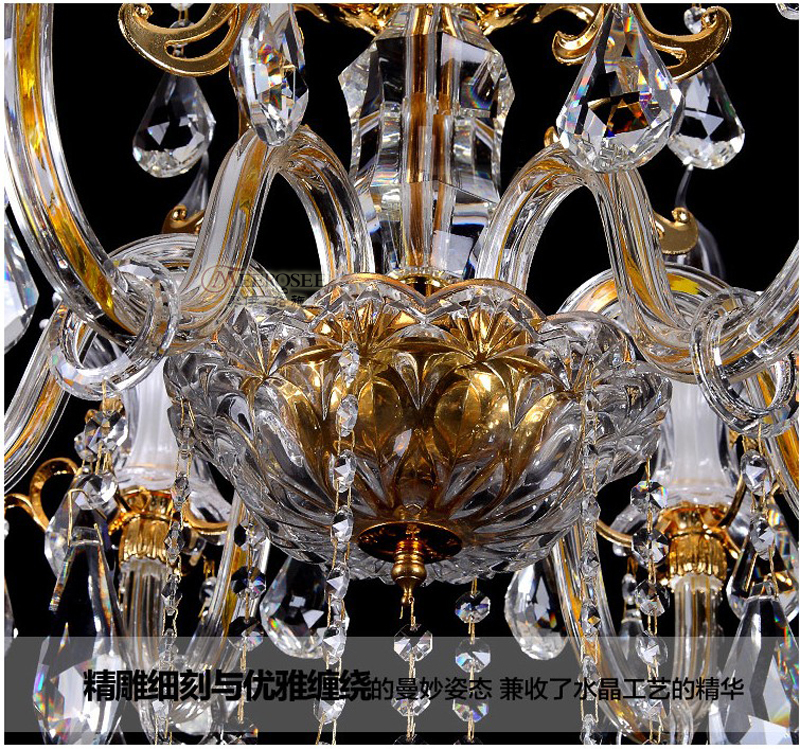 MEEROSEE Modern French Chandelier, Wedding Crystal Lamp Elegant Suspending Light S59-8