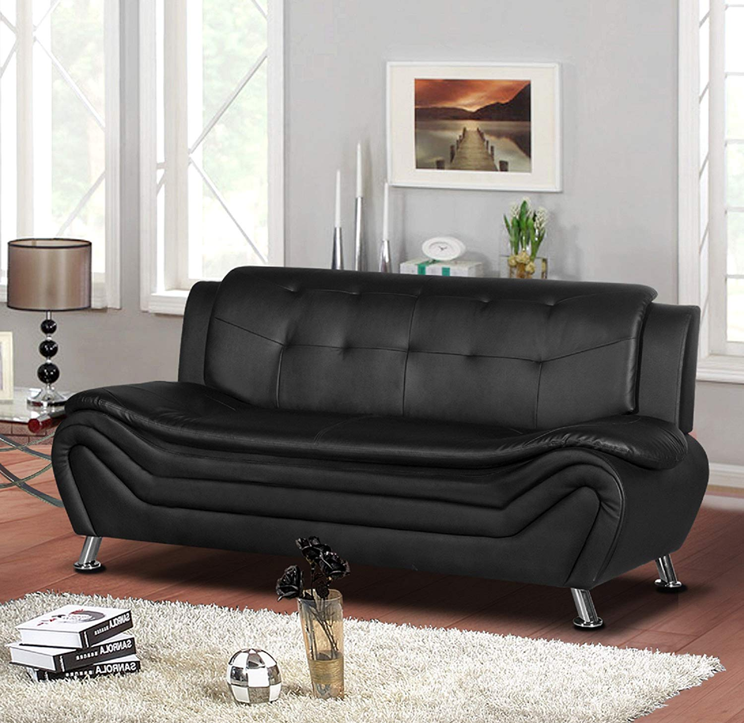 "Container Furniture Direct S5410-S Arul Leather Air Upholstered Mid Century Modern Sofa, 77.5"", Black"