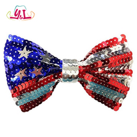 American Flag July 4th Sequin Patriotic Bow Tie Uncle Sam Costume