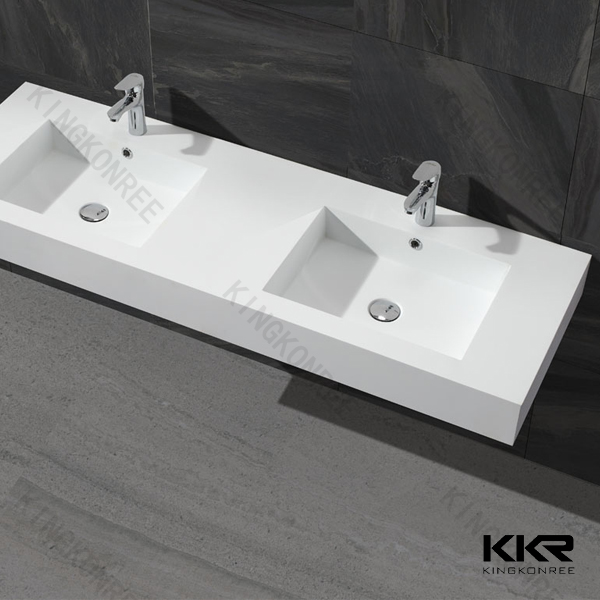 Modern Design Solid Surface Double Bathroom Sink