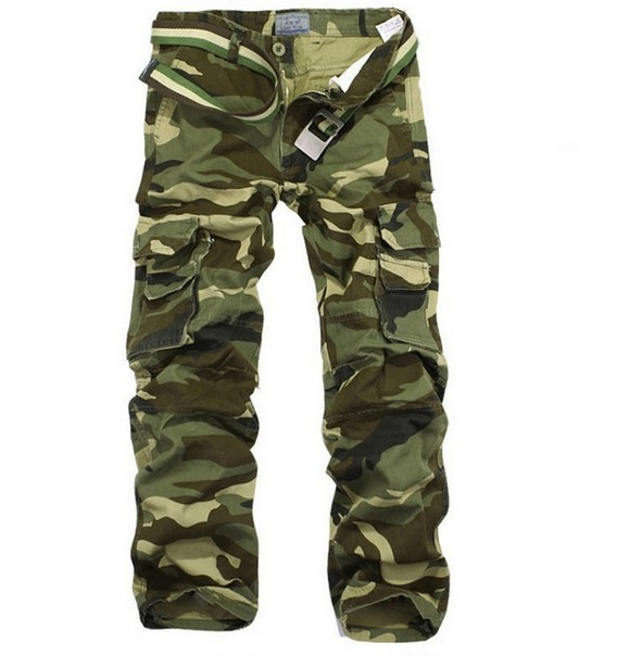 ONTBYB Mens Camouflage Multi-Pockets Casual Drawstring Work Cargo Shorts