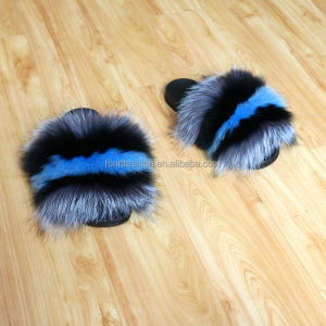Factory wholesale genuine fashion fox fur Slide Slippers /real fur Greek Teva Sandals