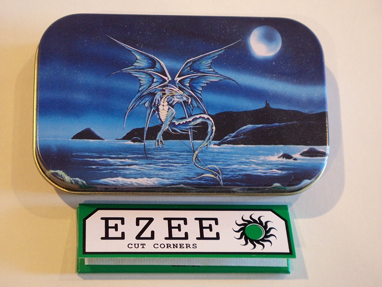 New Slim 1oz Hinged Enchanted Blue Dragon Tobacco Baccy Tin with Rolling Papers