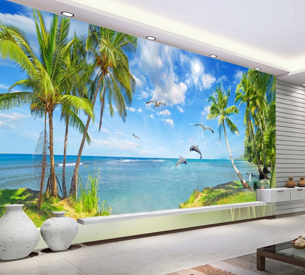 Indah Pemandangan Laut Pemandangan Dolphin Bay Pemandangan Musim Panas Pantai Wallpaper Tahan Panas Wallpaper 3d Buy India Telanjang Mural Dinding