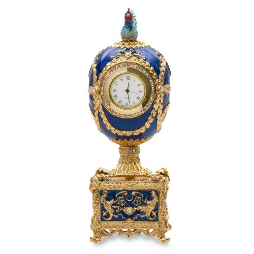 Swarovski Crystals Chicken with Clock Blue Gold Plated Faberge Style Egg Box Figurine Limited Edition Collectible Faberge Reproduction