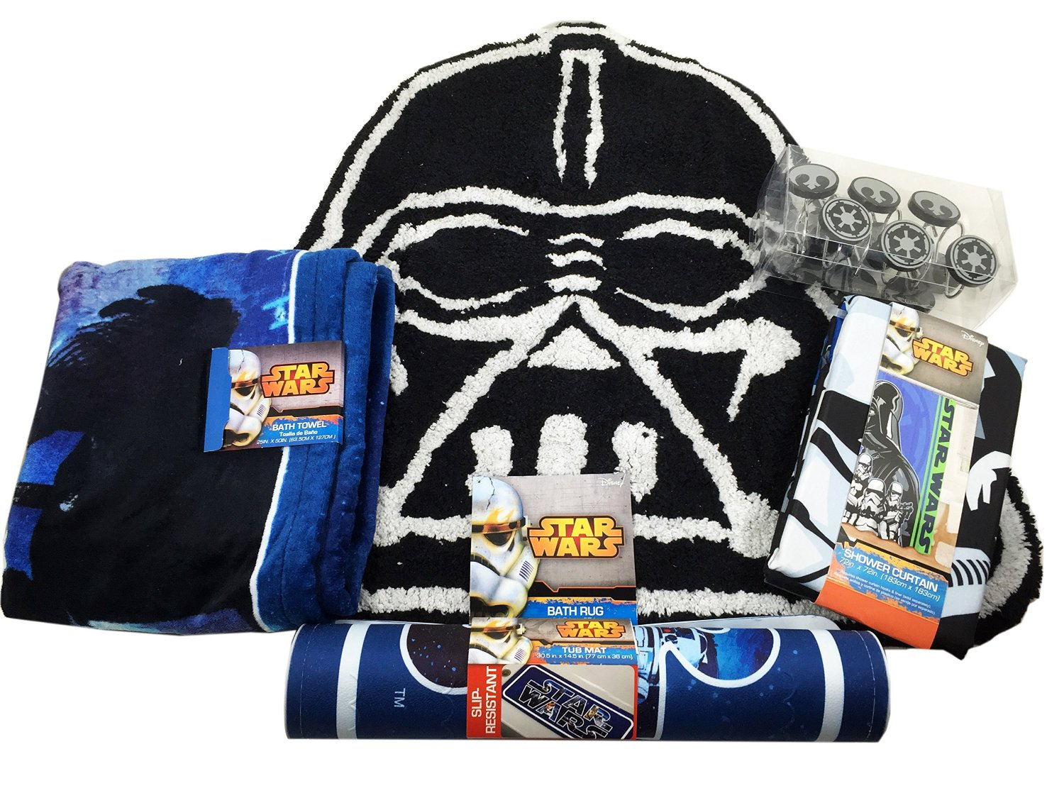 Star Wars Bathroom Set, Shower Curtain, Hooks, Bath Rug, Bath Towel, and Bath Tub Mat