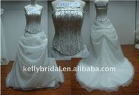 newly fashion body with embroidered bone satin and organza wedding dress 2012
