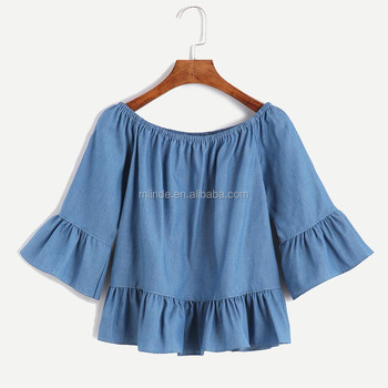 652caea2bfe Blue Boat Neck Top Short Sleeve Women Girls Party Wear Tops Crop Ruffle  Peplum Denim Tops