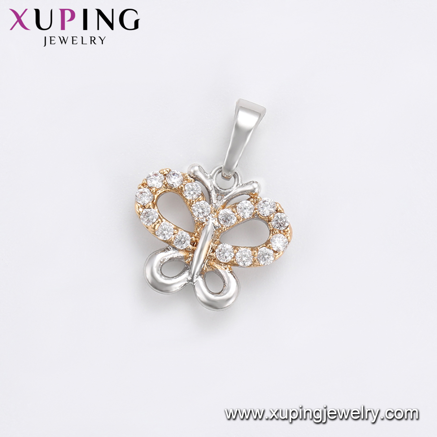33706 xuping white color gold butterflyshape jewelry pendant Copper cz pendant for women