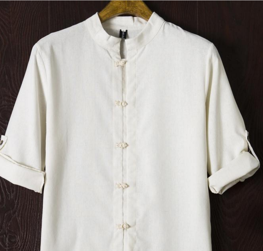 summer Chinese men's wear linen flax material leisure shirt male Chinese style restoring ancient ways cotton shirt