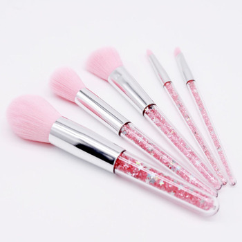 OEM Best Custom Logo 5 Piece Pink Glitter Diamond Rainbow Makeup Brush Set Premium Kit With Case