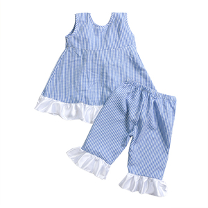 blue checked swing top capris set girls boutique summer baby clothes