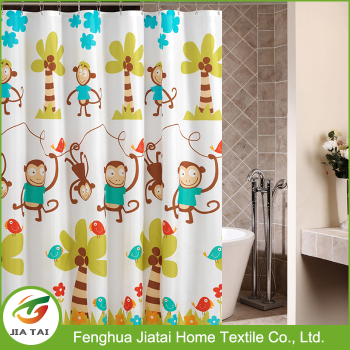Kids bath cartoon monkey printing custom polyester shower curtain