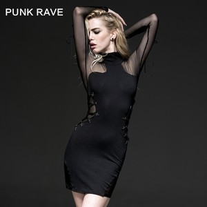 Q-230 Wholesale Punk Rave Gothic Black Sexy sexy mature elegant mini dress
