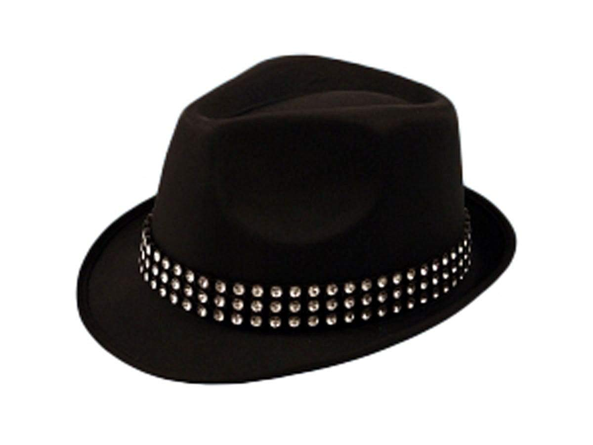 Get Quotations · MA ONLINE Mens Trilby Gangster Hat with Gem Stones Womens  Dance Show Fancy Dress Accessory One 1832d750912