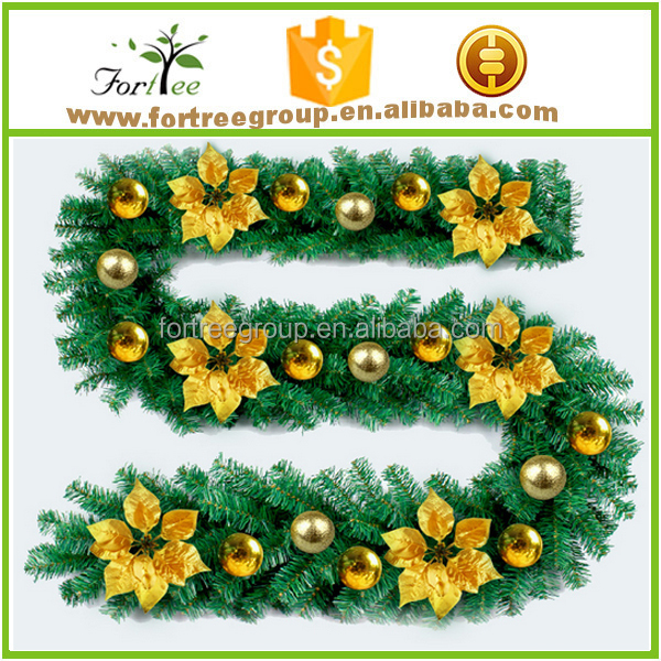 christmas decoration long green canes rattan with ball, christmas tree decoration