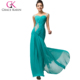 Grace Karin Dark Turquoise Chiffon Evening Gown Luxury Long Sweetheart Formal Evening Dress Sequins Party Gown CL007571-1