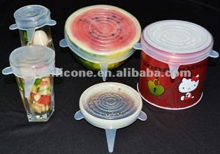 Multi-Functional Silicone Vacuum Sealer Covers,Set of 5,Keeps Food Fresher Longer.