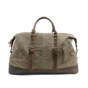 Waxed Canvas&Leather Bag Military Duffle Bags Soft Overnight Travel Bags Unisex business-Out