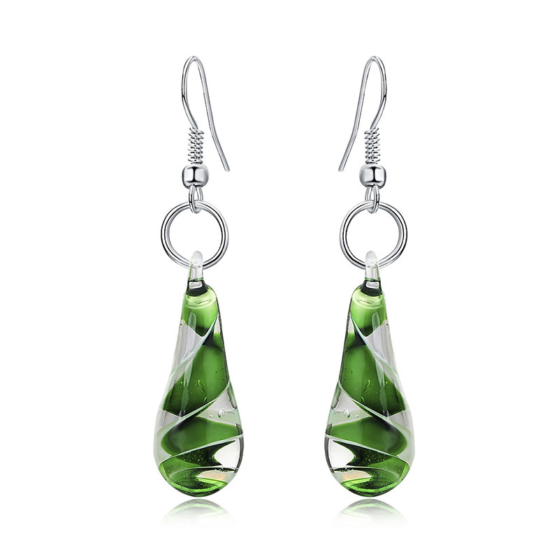 Muranos Inspired Spiral Flower Glass Water Drops Dangle Earrings Fashion Women Girls Jewelry 6 Colors