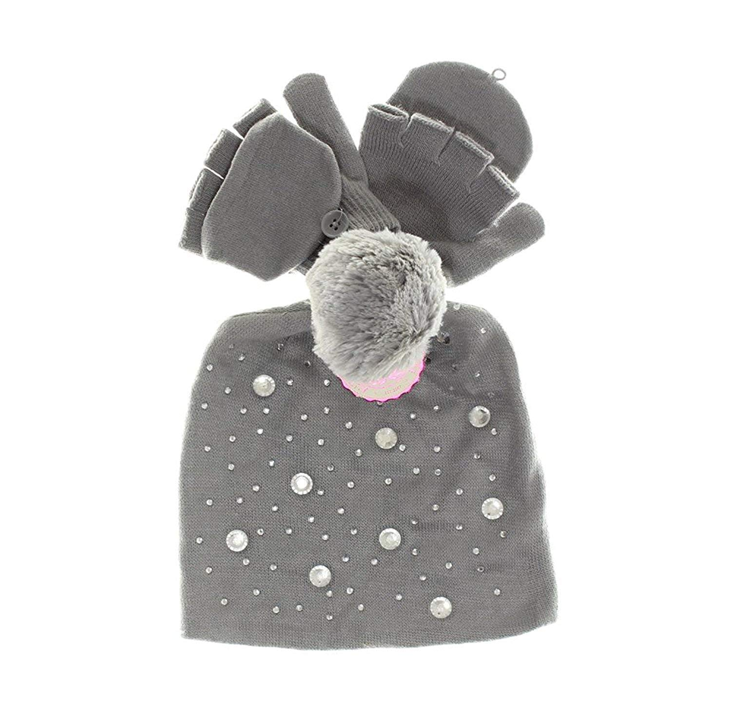 ec675012673 Get Quotations · SO Girls Jewel Embellished Hat   Gloves   Convertible  Mittens Set - Ivory