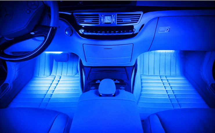 4 stks multi kleur auto led auto sfeer interieur verlichtingkleurrijke floor lights kit voor