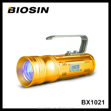 Blue white yellow 10W digital zoom rechargeable aluminum outdoor led night fishing light