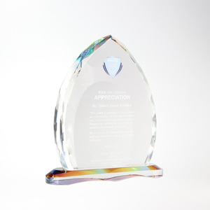 Top quality shield shape K9 custom art crystal trophy awards craft