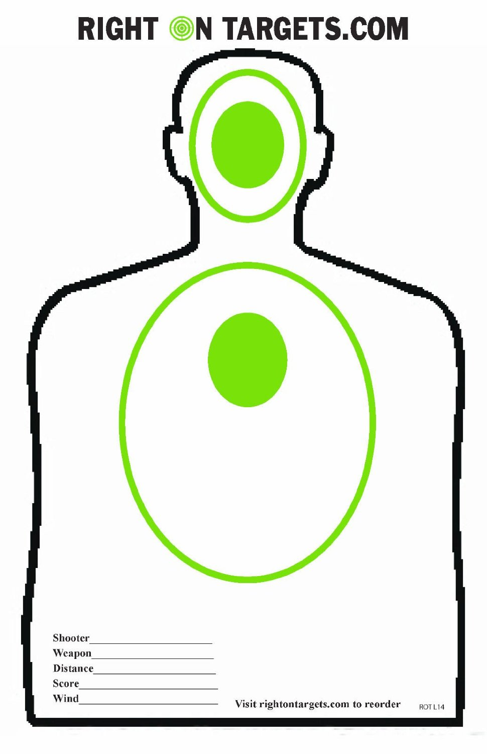 50 Green & Black Silhouette Hand Gun and Rifle Paper Shooting Targets (11x17)