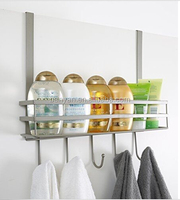 Bathroom Over The Door Hanging Shower Rack With 5 Towel Hooks