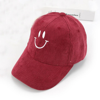 jiangrun corduroy smile flat embroidery 6 panel custom baseball hats no  minimum 07223131149