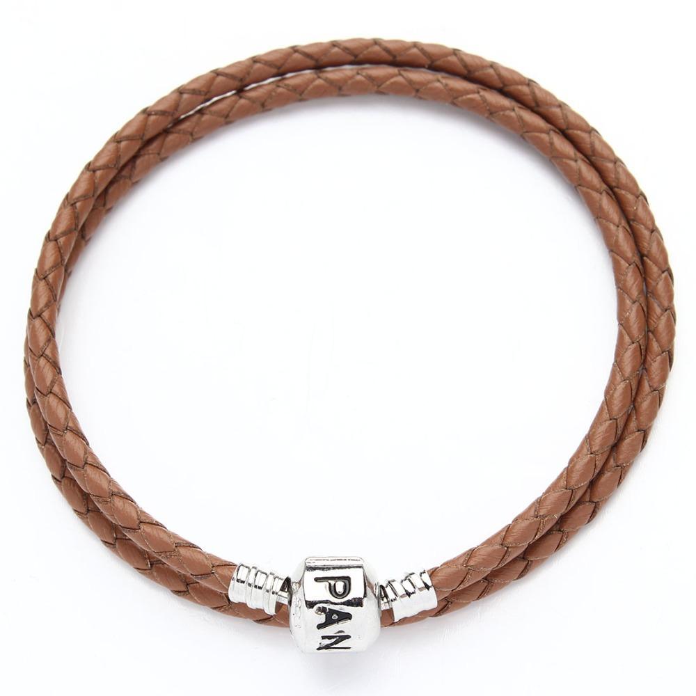Плетеный кожаный упаковка браслеты из натуральной кожи с родием клипы браслет цепи , пригодный для европейского браслет F2831