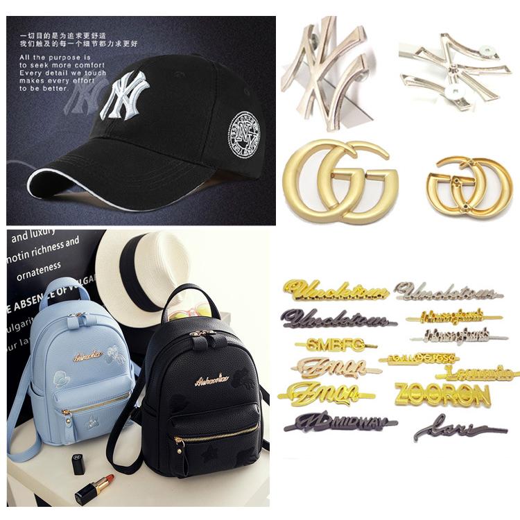 العلامة التجارية المخصصة الذهب مطلي سبائك الزنك شعار لوحة معدنية اسم العلامة العلامات