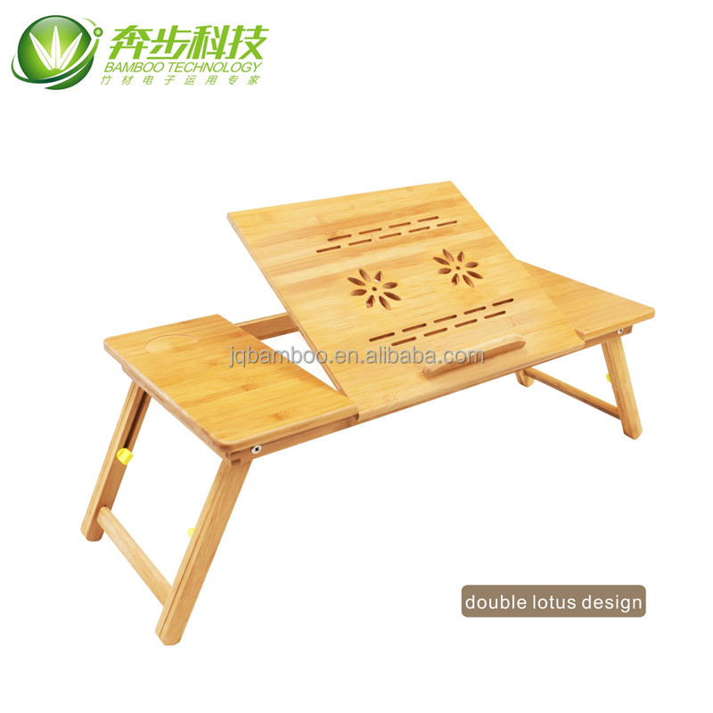 USB adjusted good price portable bamboo Laptop Table cooler pad desk with fan drawer bed