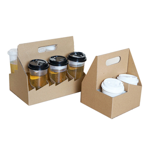 Catering carriers - 2 /4 cavities paper coffee cup holder carrier tray