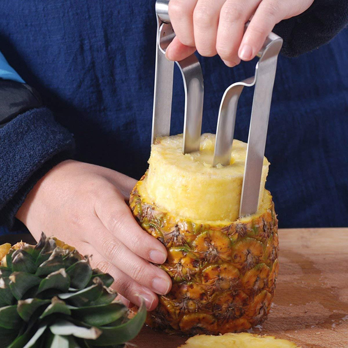 VANLLERTEAM - Stainless Steel Fruit Pineapple. Household Stainless Steel Pineapple Peeler Pineapple Corer Pineapple Slicer Ring Wedge Kitchen Fruit Cutting Knife. Pineapple Peeler Corer Slicer Cutter