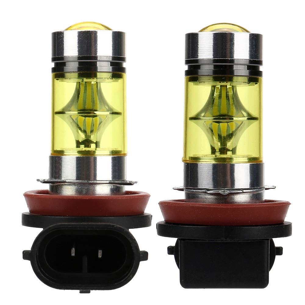 Car Fog Driving Light,Quaanti Car Led Light 2X H11 H8 100W LED 4300K Yellow 2323 Projector Fog Driving Light Bulbs (Black)