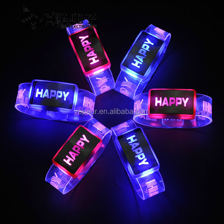 LED Bracelets Glowing Bangle Wristbands flashing light up wristbands glow in the dark party stuff