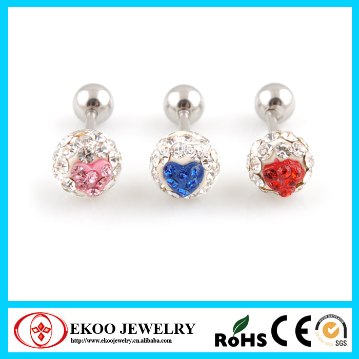 316L Surgical Steel Tragus Bar with Clear Ferido Ball 3 Pack