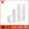 Home decorative portable function wooden wall cubes shelf with wheels