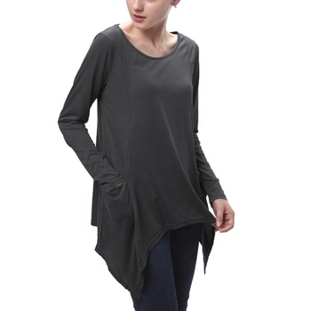 1200Pcs in Stock Ladies Swing Pocket Loose Tee Tunic Tops Plus Size Shirts Women's T-Shirts