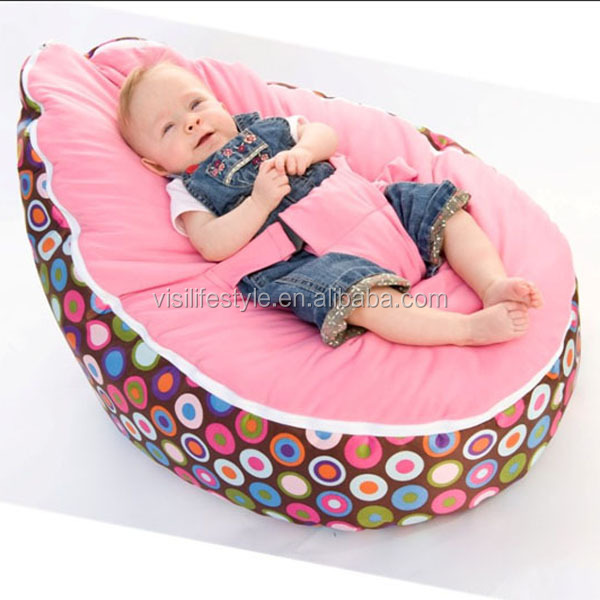 Hot sale velvet top microsuede PVC base infant PVC base infant/baby bean bag chair with harness factory