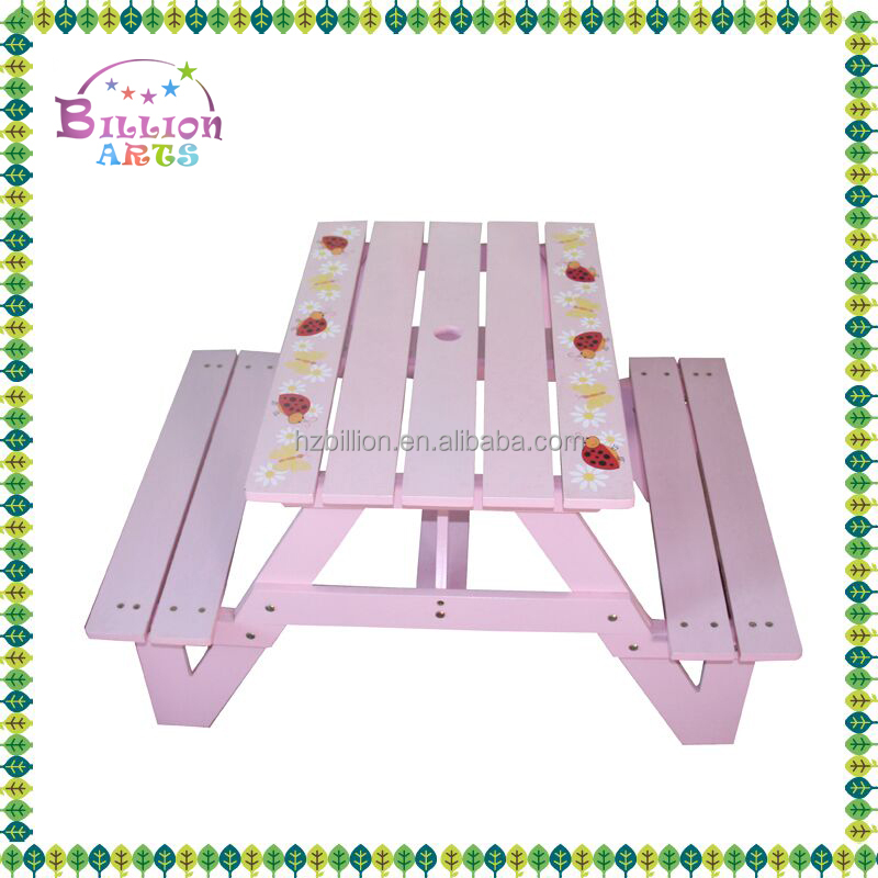 2016 wholesale wooden outdoor party kids table and chairs
