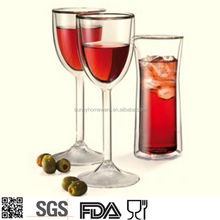 clear double wall red wine glass cups mugs / goblet / tall glasses cup / cup sparkling wine