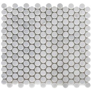 Carrara Penny Round Marble Mosaic Tile in Bathroom Accessories