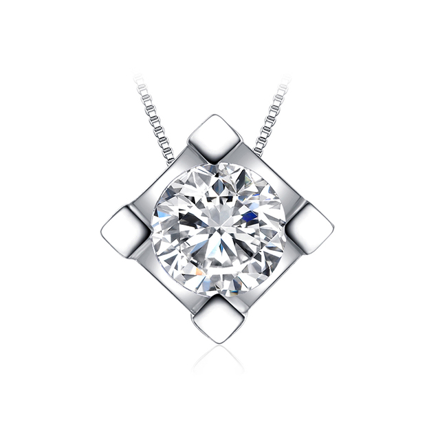 JewelryPalace Classic Round 1ct CZ Simulated Diamond 925 Sterling Silver Solitaire Pendant Necklace 18 Chain
